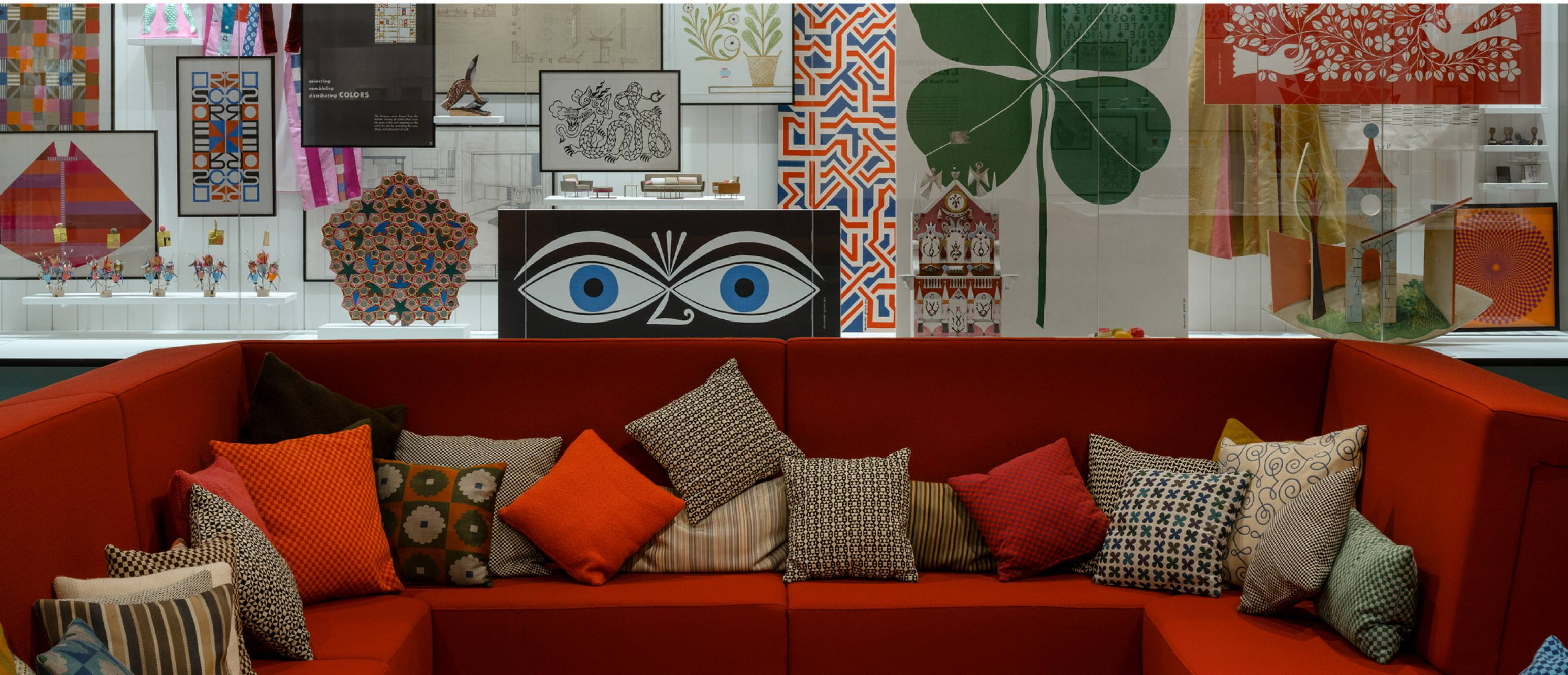Alexander Girard exhibition, conversation pit with glass gallery in the back