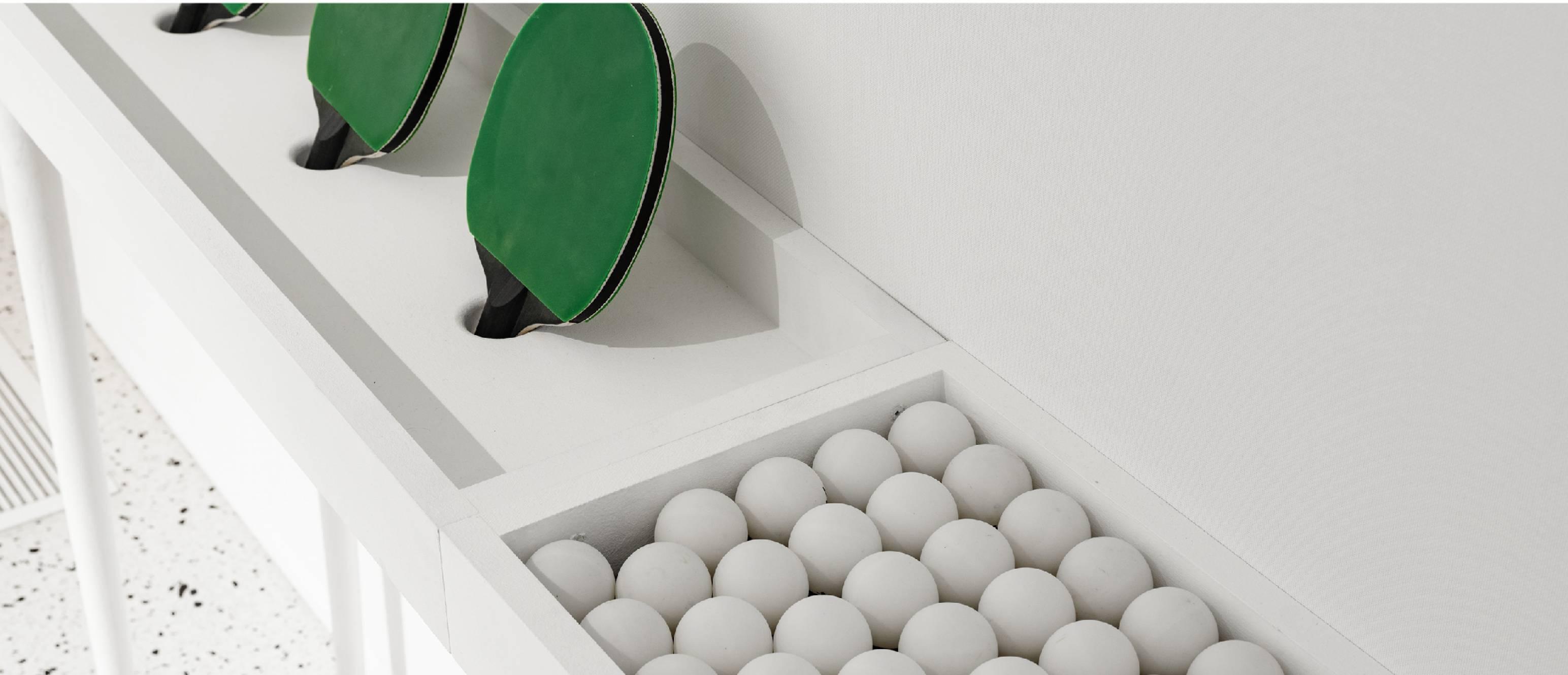 Ping pong paddles and balls